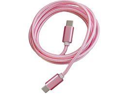PETER JAeCKEL FASHION 1 5m Data Cable Rose fuer Typ C Apple Lightning mit Sync und Ladefunktion