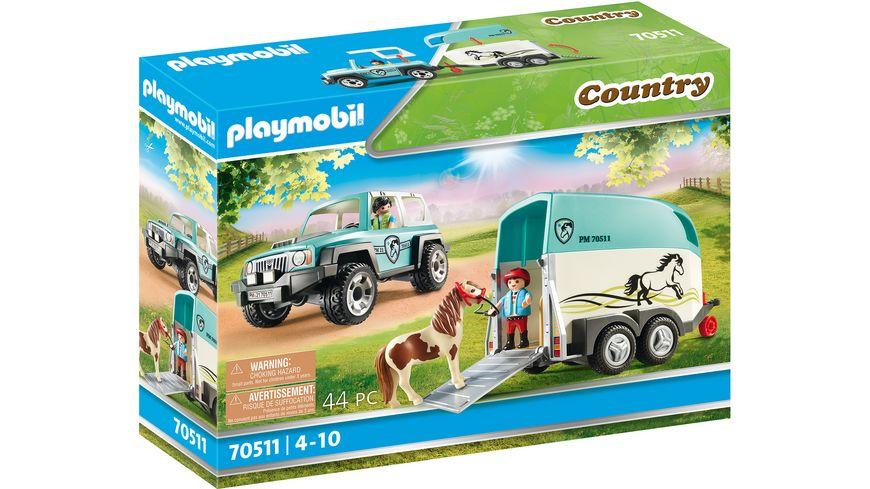 PLAYMOBIL 70511 - Country - PKW mit Ponyanhänger