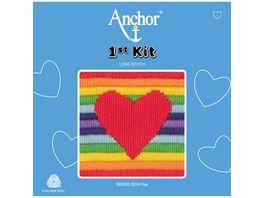 Anchor Stickset 1st Kit Herz auf Regenbogen