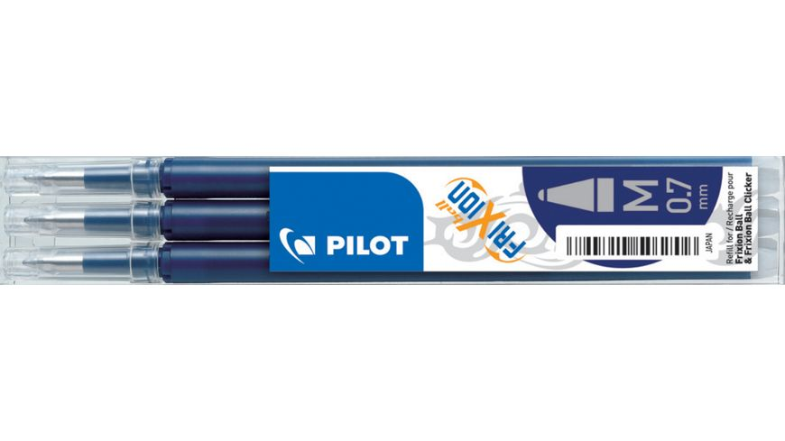 PILOT Tintenrollermine FriXion Ball/Clicker 0.5mm blauschwarz 3er Set