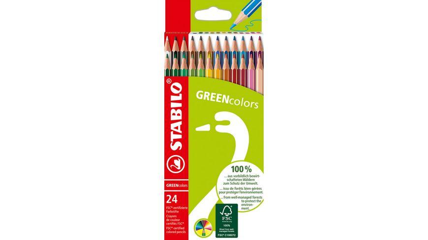 STABILO® Umweltfreundlicher Buntstift - STABILO GREENcolors - 24er Pack - mit 24 verschiedenen Farben