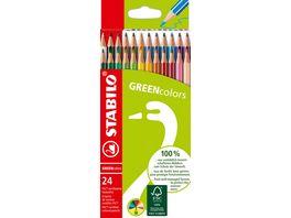 STABILO Umweltfreundlicher Buntstift STABILO GREENcolors 24er Pack mit 24 verschiedenen Farben