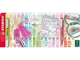 STABILO Textmarker STABILO swing cool 18er Tischset mit 18 verschiedenen Farben 8 Leuchtfarben und 10 Pastellfarben