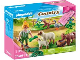 PLAYMOBIL 70608 Country Geschenkset Baeuerin mit Weidetieren