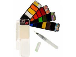 Aquarellfarben Set mit 18 Farbtoenen im Faecher Wasserpinsel