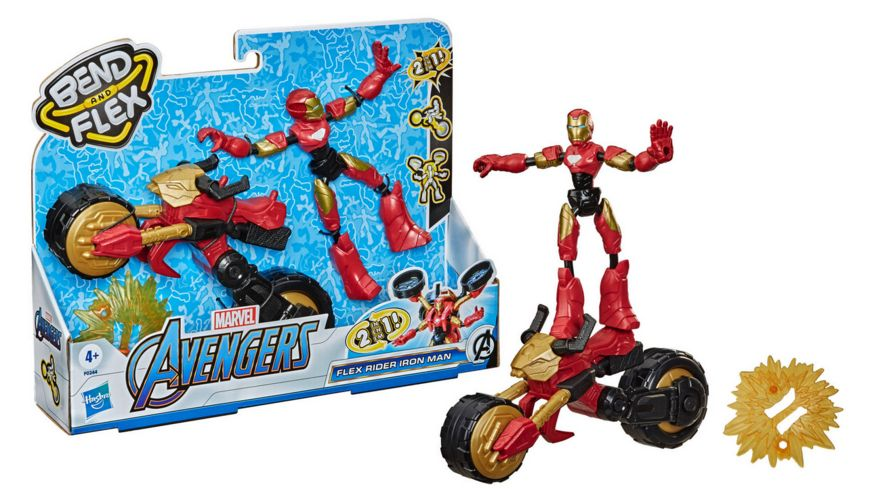 Hasbro - Marvel Bend and Flex, Flex Rider Iron Man mit 2-in-1 Motorrad