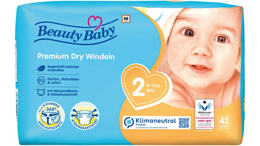 Beauty Baby Premium Dry Windeln, Größe 2 Mini, 4-8 kg