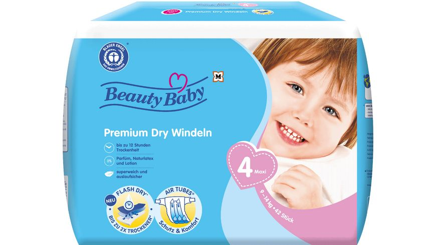 Beauty Baby Premium Dry Windeln, Größe 4 Maxi Jumbo. 9-14 kg
