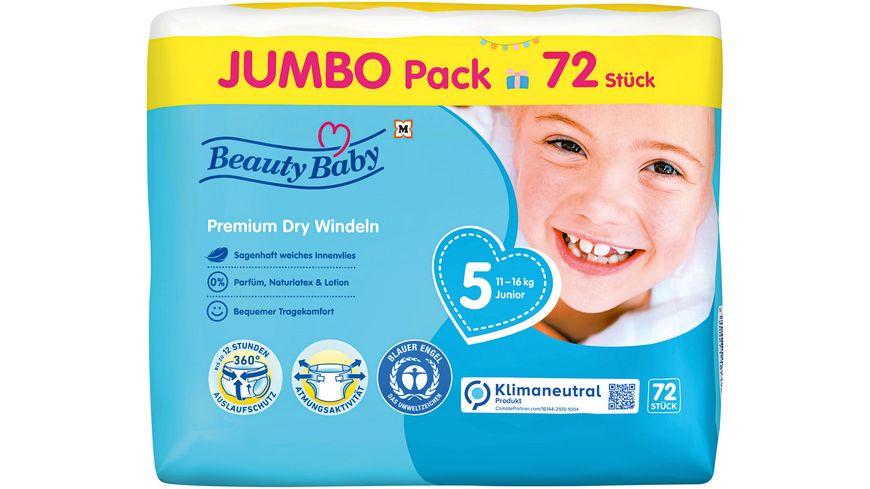 Beauty Baby Premium Dry Windeln, Größe 5 Junior Jumbo, 11-16 kg