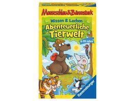 Ravensburger Spiel 20737 Wissen und Lachen Abenteuerliche Tierwelt Mauseschlau Baerenstark fuer Kinder Kinderspiel fuer 2 4 Spieler Quiz ab 6 Jahren