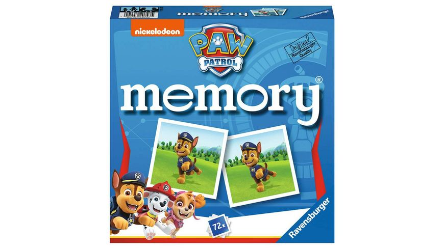 Ravensburger Spiel - 20743 Paw Patrol memory®, der Spieleklassiker für alle Fans der TV-Serie Paw Patrol, Merkspiel für 2-8 Spieler ab 4 Jahren