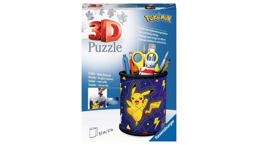 Ravensburger Puzzle - 3D Puzzle 11257 - Utensilo Pokémon Pikachu - 54 Teile - Stiftehalter für Pokémon Fans ab 6 Jahren