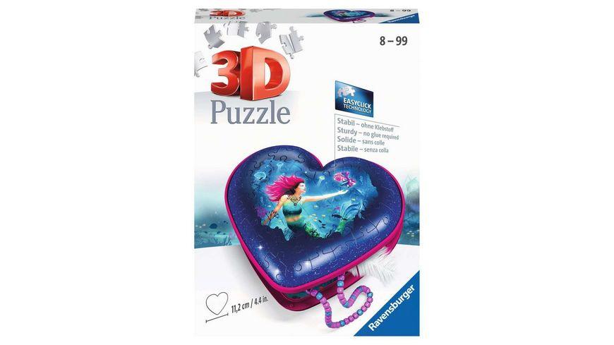 Ravensburger Puzzle - 3D Puzzle 11249 - Herzschatulle - Bezaubernde Meerjungfrauen - 54 Teile - ab 8 Jahren