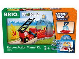 BRIO Bahn 33976 Smart Tech Sound Feuerwehreinsatz Zubehoer fuer die BRIO Holzeisenbahn Interaktives Spielzeug empfohlen ab 3 Jahren