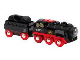BRIO Bahn 33884 Batterie Dampflok mit Wassertank Lokomotive mit echtem kuehlen Dampf und Wasserbehaelter zum Nachfuellen Empfohlen ab 3 Jahren