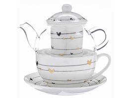 TRENDSHOP Tee Set Tea for One 4 teilig Goldherzen