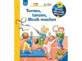 Wieso Weshalb Warum Junior Turnen tanzen Musik machen Kinderbuch