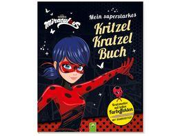 Miraculous Mein superstarkes Kritzel Kratzel Buch Kratzmotive mit tollen Farbeffekten Mit Bambus Stick