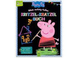 Peppa Pig Mein wutzig tolles Kritzel Kratzel Buch Kratzflaechen mit tollen Mustern Mit Bambus Stick