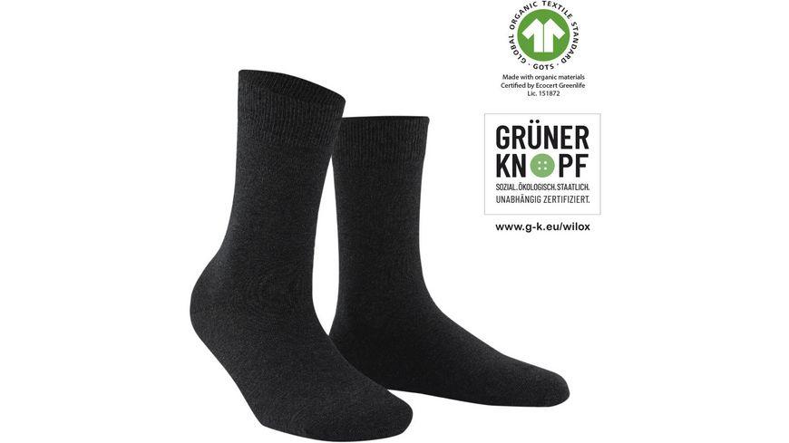 WILOX Damen Socken ORGANIC COTTON   GRÜNER KNOPF
