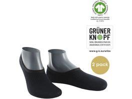 WILOX Herren Fuesslinge ORGANIC COTTON GRUeNER KNOPF 2er Pack