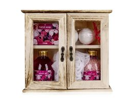 Geschenkset ROSE im kleinen Holzschrank