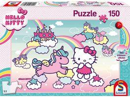 Schmidt Spiele Kinderpuzzle Hello Kitty Glitzerpuzzle Kittys Einhorn 150 Teile