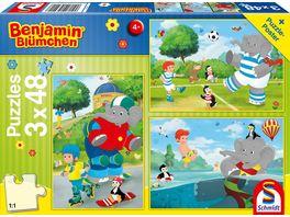 Schmidt Spiele Kinderpuzzle Benjamin Bluemchen Sport und Spiel mit Toeroeoeoe 3x48 Teile