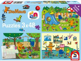 Schmidt Spiele Kinderpuzzle Die Maus Ein Tag mit der Maus 3x48 Teile
