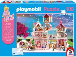 Schmidt Spiele Kinderpuzzle Playmobil Prinzessinnenschloss 100 Teile mit original playmobil Figur