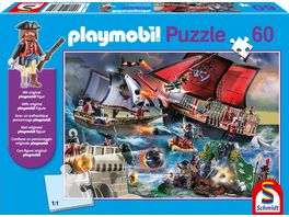 Schmidt Spiele Kinderpuzzle Playmobil Piraten 60 Teile mit original playmobil Figur