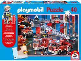 Schmidt Spiele Kinderpuzzle Playmobil Feuerwehr mit original playmobil Figur