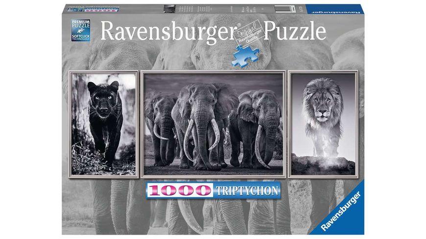 Ravensburger Puzzle - Panter, Elefanten, Löwe - 1000 Teile