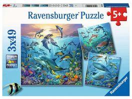 Ravensburger Puzzle Tierwelt des Ozeans 3x49 Teile Kinderpuzzle Puzzle fuer Kinder ab 5 Jahren