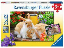 Ravensburger Puzzle Kleine Kuschelzeit 2x12 Teile Kinderpuzzle Puzzle fuer Kinder ab 3 Jahren