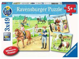 Ravensburger Puzzle Ein Tag auf dem Reiterhof Kinderpuzzle 3 x 49 Teile