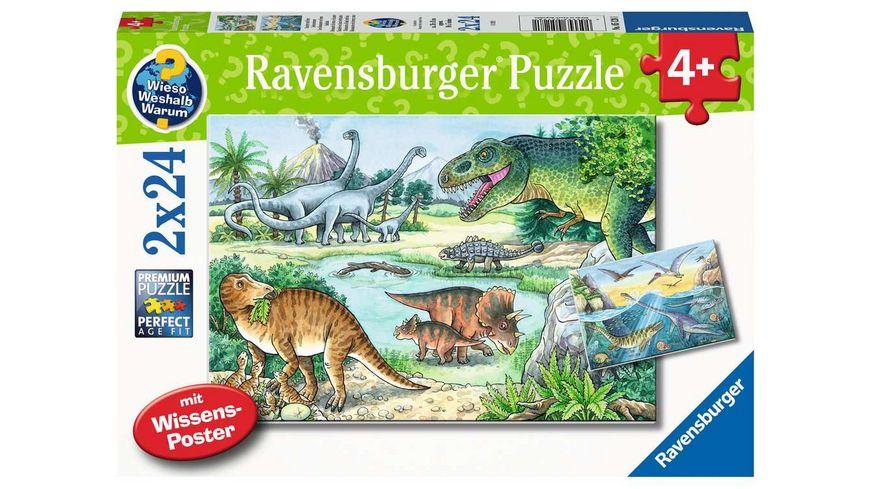 Ravensburger Puzzle - Saurier und ihre Lebensräume Kinderpuzzle, 2x24 Teile