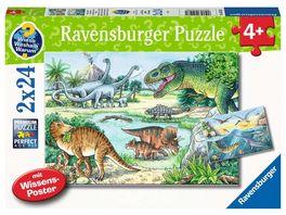 Ravensburger Puzzle Saurier und ihre Lebensraeume Kinderpuzzle 2x24 Teile