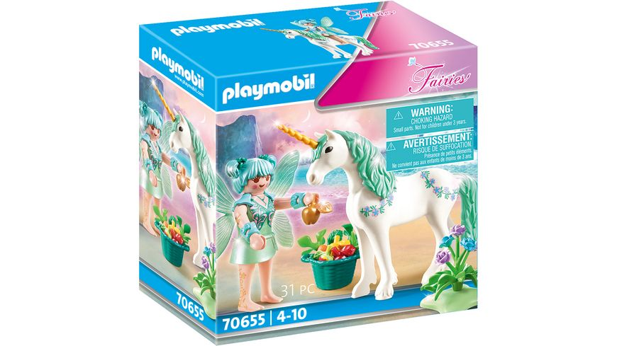 PLAYMOBIL 70655 - Fairies - Einhorn mit Fütter-Fee