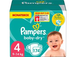 Pampers BABY DRY Windeln Dry Gr 4 Maxi 9 14kg MonatsBox 174ST