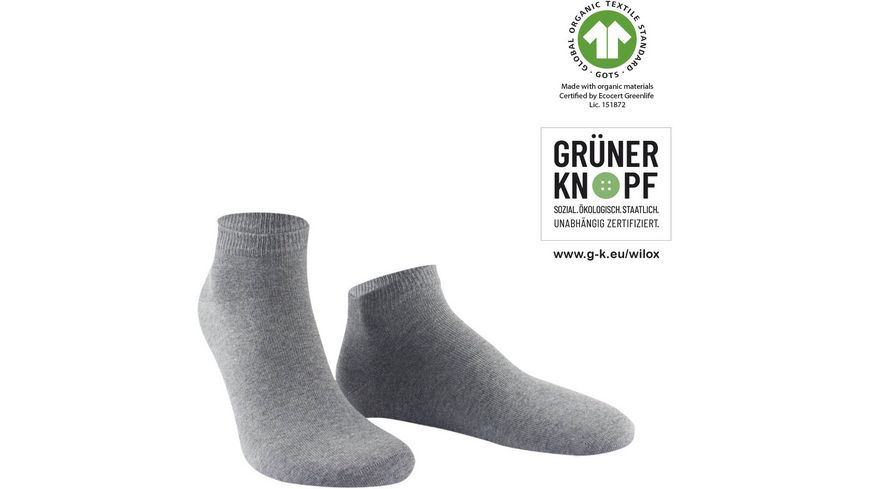 WILOX Herren Sneaker Socken ORGANIC COTTON   GRÜNER KNOPF
