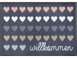 wash dry Fussmatte Willkommen Herzen 50x75cm