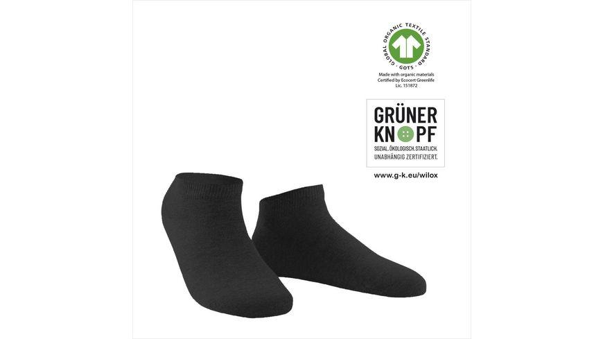 WILOX Damen Sneaker Socken ORGANIC COTTON | GRÜNER KNOPF