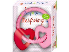 Die Spiegelburg Baby Glueck Beissring rosa mit 2 Herzen