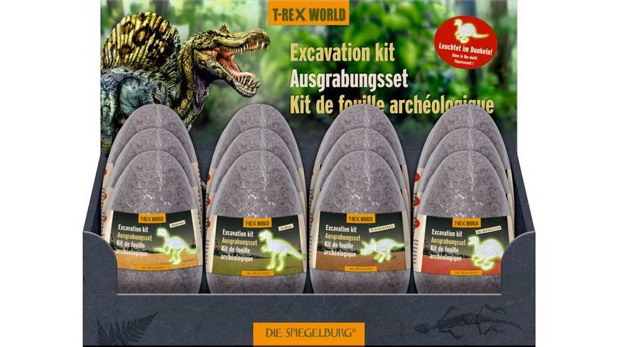 Die Spiegelburg - Ausgrabungsset Figuren im Ei, nachtleuchtend, T-Rex W.,sort.