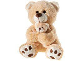 Heunec Misanimo Baer mit Baby in beige hellbraun Teddy 25cm Plueschfigur