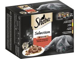 SHEBA Portionsbeutel Multipack Selection in Sauce Herzhafte Komposition 12 x 85g