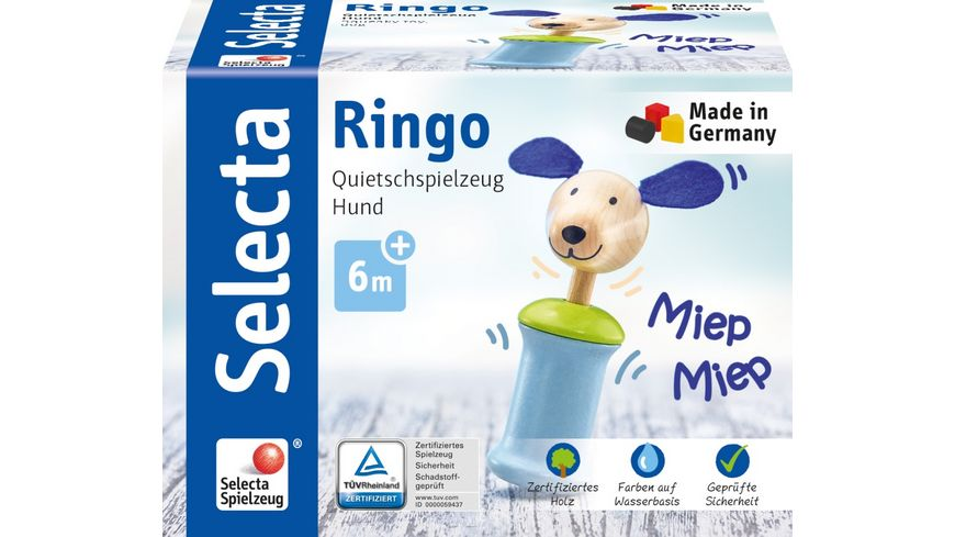 Selecta Holzspielzeug Babywelt Ringo Hund, Greifling mit Quietsche, 12 cm 61056