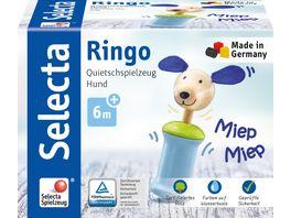 Selecta Holzspielzeug Babywelt Ringo Hund Greifling mit Quietsche 12 cm 61056