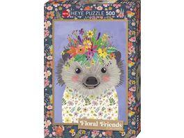 Heye Standardpuzzle 500 Teile Funny Hedgehog Floral Friends 299521